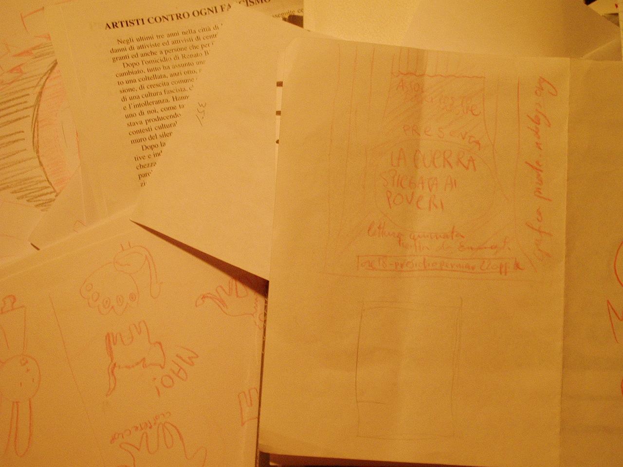 volantino spettacolo teatrale fuori posto la guerra spiegata ai poveri lettura animata di ennio flaiano presidio permanente domenica 22 aprle 2007 pirate acrilico